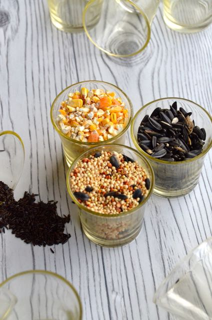 votives filled with mixed bird seed, cracked corn, black sunflower seed and thistle